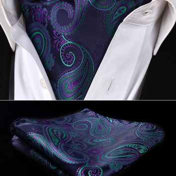 Party Classic Pocket Square Wedding RF427GS Navy Blue Green Paisley Men Silk Cravat Ascot Tie Handkerchief Set