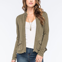 Others Follow French Terry Womens Jacket Olive  In Sizes