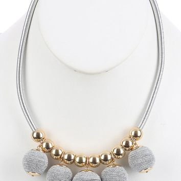 Sliver Color Cord Wrapped Chunky Ball Fringe Bib Necklace