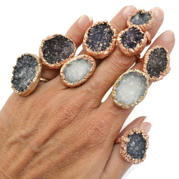 Solitaire Ring,  Cocktail Ring, Druzy Ring, Gemstone Ring, Statement Ring, Copper Ring, Mineral Stone Rings