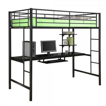 "Metal Twin Loft Bed with Workstation (Black) (68""H x 80""W x 42""D)"