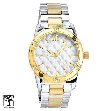Jewelry Kay style Men's CZ Silver / Gold Plated Iced Out Fashion Metal Heavy Band Watch WM 1286 TT