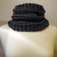 Hand knit chunky gray double sided men's cowl scarf