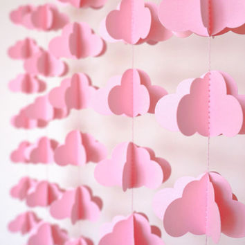 Pink Paper Clouds, Vertical Cloud Garland, 3D Paper Clouds, Paper Cloud garland, Photo prop, Pink Banner, Baby Shower Decor