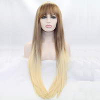 light brown to blonde ombre  wigs with bangs synthetic lace