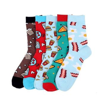 ac NOOW2 High Quality 200 Needle 80% Combed Cotton Mens Socks Pizza Coffee Novelty Food Socks Chaussette Homme Size EU 36-44