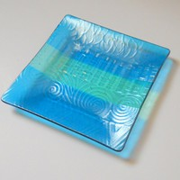 Art Glass Plate with Aqua Blue Iridescent Geometric Design, 8 Inch