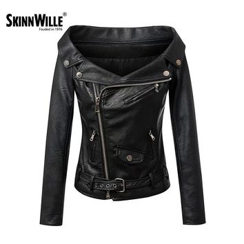 Women's Fashion Zipper Leather Coat Women Basic Coats Bomber Jacket