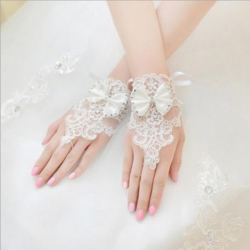 Ivory White Long Satin Finger Drape Bride Wedding Gloves Bridal Gloves Accessories