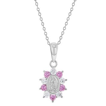 """925 Sterling Silver Medal Clear Pink CZ Guadalupe Virgin Pendant Girls Necklace 16"""""""