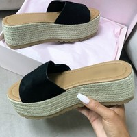 Beach House Black Platform Espadrille Slides