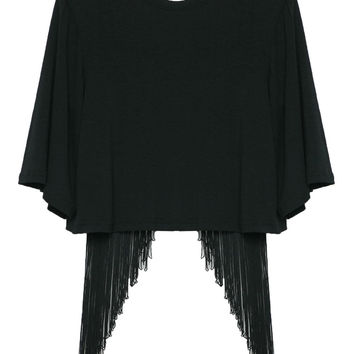 Fringed Back Cropped Loose Top