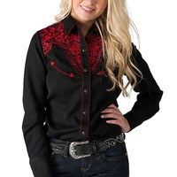 Panhandle Slim Women's Black with Red Embroidery Long Sleeve Retro Western Shirt