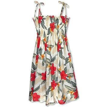 makaha cream hawaiian moonkiss dress
