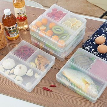 Japan style Transparent food grade plastic storage box 3 grids preservation box Refrigerator food microwave storage container