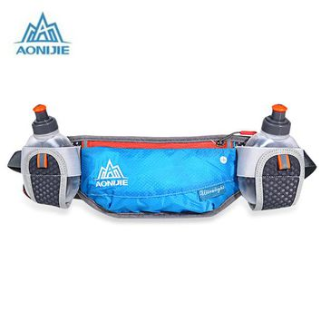Fitness Running bag AONIJIE Sport  Reflective Waist  With Two 170ML Water Bottle For  Cycling Hiking Camping
