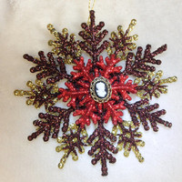 Handmade Christmas Ornament - Brown and Gold and Red with Cameo SFO1311-104