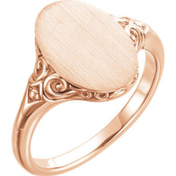 14K White Oval Signet Ring