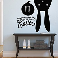 Easter Bunny Wall Decals Happy Easter Decal Vinyl Sticker Nursery Home Decor Cafe Restaurant Art Murals MS750
