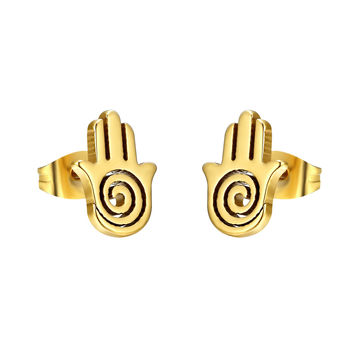 Stainless Steel Hamsa Hand Earrings Studs 14k Gold Tone 12mm Brand New
