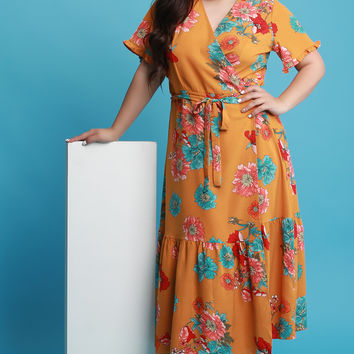Plus Size Floral Surplice Maxi Wrap Dress | UrbanOG