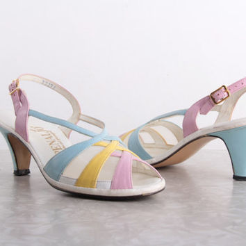 Pastel Pumps. Vintage Footwear . Sling Back Open Toe HIgh Heel Shoes