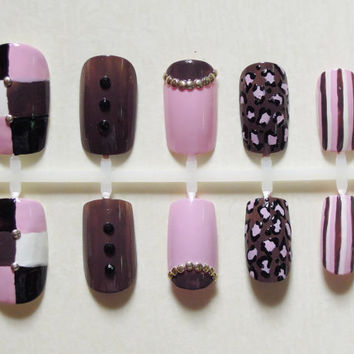 Pastel Pink, Brown / Taupe, Black and White False Nail Set with Cheetah Print, Half Moon, Stripes, Black Rhinestones and Gold Studs