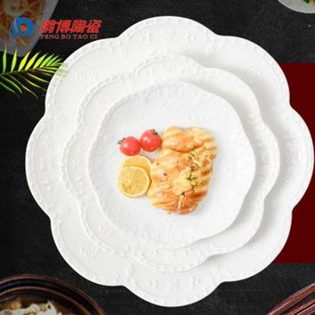LMF9GW 2016 Western-style Round White Buffet Plates Ceramic Party Plates Dinnerware 6/8/10 Inches Fruit Beefsteak Sushi Dishes Plates