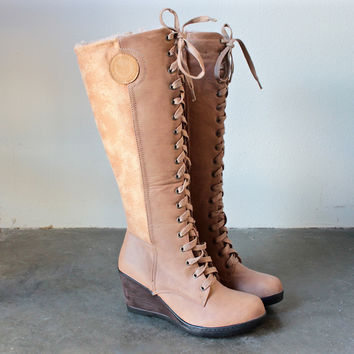 lace-up front wedge boots in khaki