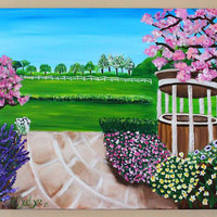 Landscape Painting, Painting on Canvas, Art on Canvas, Tree Art, Flower art, Garden painting