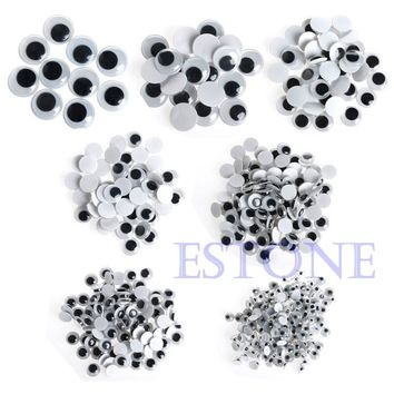 520 x 6-20mm Teaching Accessory Wiggly Wobbly Googly Eyes Self-adhesive Scrapbooking Crafts Mixed