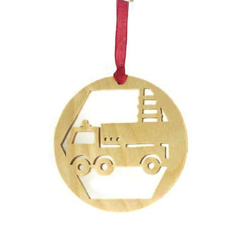 Firetruck Christmas Ornament Handmade From Birch Plywood, Fire Truck, Ladder Truck, Fireman Truck,