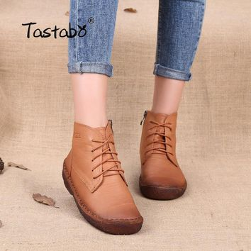 Tastabo Autumn Sneakers for Women Winter Boots Shoelace Zipper Genuine Leather Ladies Shoes Female Ankle Boots Large Size 35-43