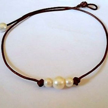 The Original Seaside 3 Freshwater Pearls on AA Leather Choker Rated #1 New Item on Amazon