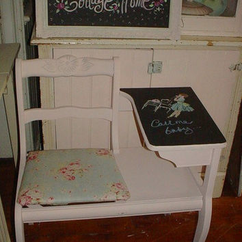 Vintage Telephone Table Chair Now Chalkboard Hand Painted Precious in Pink
