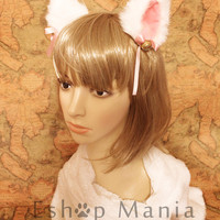 White inner pink 9 cm Kitty Cat Ear Hair clip , FOX ear Long fur Hair Clip Bell set Cosplay Costumes Party