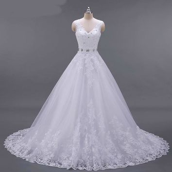 A Line Wedding Dress V Neck Beaded Sash Backless Sexy Vintage Bridal Gowns Wedding dresses