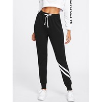 Black Mid Waist Sporty Sweatpant