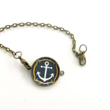 Anchor Bracelet-Nautical bronze chain bracelet-navy blue,ocean,sea
