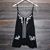 gauze embroidered tank - black