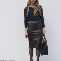 ZARA BROWN CHOCOLATE SNAKESKIN PRINT PENCIL SKIRT SIZE L LARGE REF 2753/036