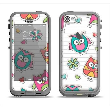The Colored Cartoon Owl Cutouts on Paper Apple iPhone 5c LifeProof Fre Case Skin Set