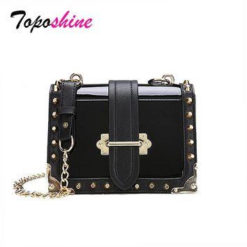 Patent Leather Shiny Personality Rivets Color Small Square Package Wild Casual Temperament Shoulder Messenger Bag Handbag Tide