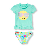 Toddler Girls Short Sleeve Glitter Shades Emoji Ruffle Rashguard Set | The Children's Place