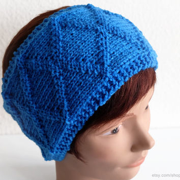 True blue cable headband, knit hairband, soft wool earwarmer, X-pattern, diamond pattern, head-wrap, multiple colours, handmade, gift women