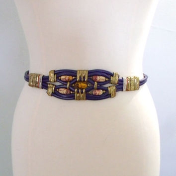 Vintage Egyptian style blet / Purple leather and brass Egyptian blet / Boho gypse belt