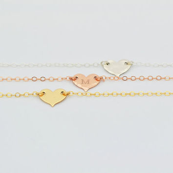 Tiny Heart Necklace, Initial Heart Gold, Personalized Heart, Tiny Gold Heart Necklace, Rose Gold Heart, Minimal Necklace