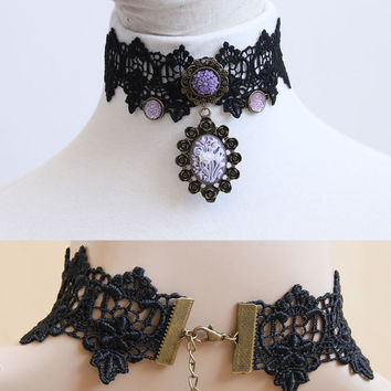 Women's Vintage Gothic Lolita Punk Crystal Choker Necklace Black Victorian Style Resin Tassel Vampire Steampunk Torques Jewelry