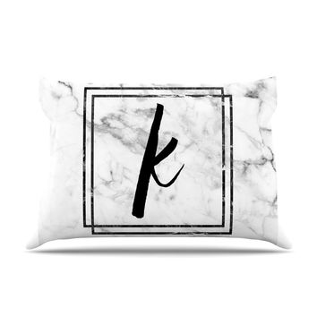 "KESS Original ""Gray Marble Monogram"" Pillow Case"