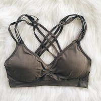 Woven Cage Back Bralette (Taupe)